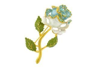 24k Gold-Plated Swarovski Crystal Enamel White Rose Pin/ Brooch (1/2 x 2) - Gift Boxed