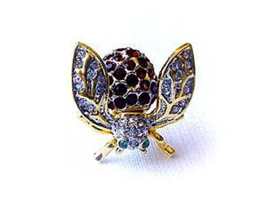 Platinum-Plated Swarovski Crystal Enamel Fluttering Bee Pin/ Brooch (1/2 x 3/4) - Gift Boxed