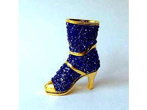 Gold-Plated Pewter Swarovski Crystal Blue Enamel Fancy Boot Keepsake Box (2 1/4 x 3 3/4) - Gift Boxed