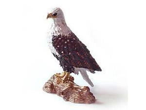 Pewter Swarovski Crystal Enamel Eagle Keepsake Box (4 1/2 x 3) - Gift Boxed