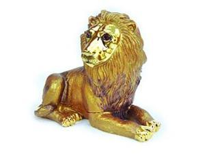24k Gold-Plated Pewter Swarovski Crystal Lion - King of the Jungle Keepsake Box (3 x 4) - Gift Boxed