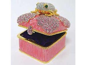 24k Gold-Plated Swarovski Crystal Frog on Lily Pink Keepsake Box (2 x 2) - Gift Boxed