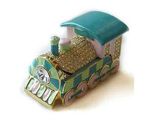 Pewter Swarovski Crystal Enamel Train Keepsake Box