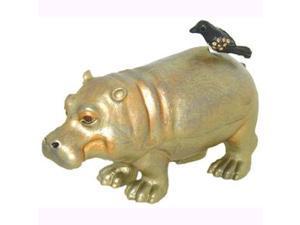 24K Gold Swarovski Crystal Hippo with Bird Keepsake Box (3 1/4 x 3 1/4) - Gift Boxed