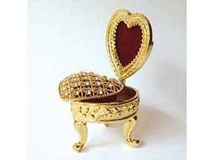 Pewter Swarovski Crystal Enamel Fancy Chair Heart Frame Keepsake Box