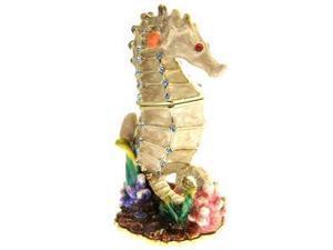 Pewter Swarovski Crystal Enamel SEA HORSE Keepsake Box Gift Boxed