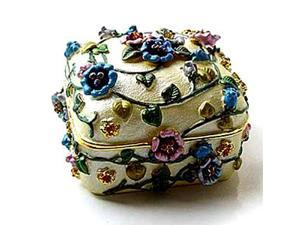 Pewter Enameled Flower Keepsake Box (1 1/2 x 2) - Gift Boxed
