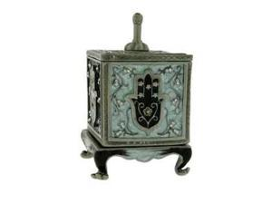 Green Enamel Dreidle Box Keepsake / Trinket Box w/ Hamsa for Hannukah - Gift Boxed