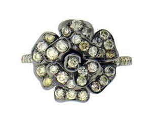 1/2 Carat Champagne Yellow & White Diamond 14K White Gold Black Rhodium Flower Right Hand Ring
