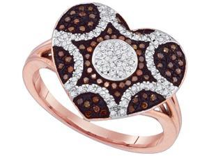 0.33Ctw Red and White Diamond 10K Rose Gold Micro Pave Heart Fashion Ring