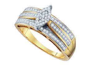 0.25CT Diamond 10K White Gold Womens Wedding Anniversary Micro Pave Ring Band (Size: 7)