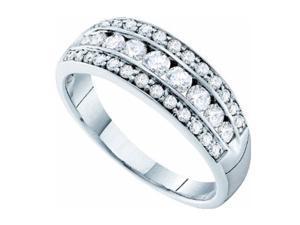 0.74CT Diamond 14K White Gold Womens Wedding Anniversary Ring Band (Size: 7)