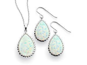 .925 Sterling Silver Rhodium Plated Opal Teardrop Cubic Zirconia Dangling Hook Earring & Necklace Set