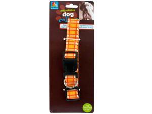 Adjustable Dog Collar with Plaid Design - Set of 144 (Pet Supplies Collars Leashes Harnesses) - Wholesale