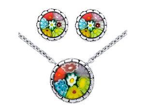 925 Sterling Silver Nickel Free Millefiori Set: Multi-Color Round Cabochon Stud Earrings And Necklace