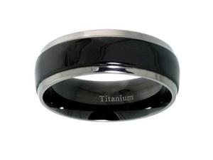 "Titanium 5/16"" (8mm) Comfort Fit Ring  Wedding Ring / Band  with Black Satin Stripe Center."