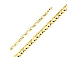 14k Yellow Gold Hollow Men's 4.2mm Cuban Curb Chain Necklace with Lobster Claw Clasp 24 Inches