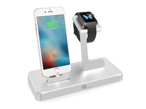 1byone 3-in-1 Charging Dock for iPhone iPad & Apple Watch, Apple MFi Certified Power Station in Aluminium Alloy, Silver