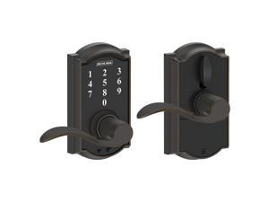 Schlage Touch Camelot Lock with Accent Lever Aged Bronze