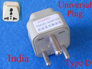 Universal Travel Adapter USA UK AUS EURO to India Type D AC Power Plug