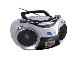 Supersonic SC-709 SILVER Portable MP3 & CD Player with Cassette Recorder & AM/FM Radio (Silver)