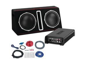 "BOSS BASS12DAPK 12"" Passive Loaded Enclosure with Amp & Amp Wiring Kit Party Pack (Dual, 1,600 Watts)"