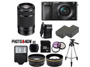 Sony Alpha A6000 Mirrorless Digital Camera with 16-50mm Lens (Black) With Sony SEL55210 55-210mm Lens (Black) Professional Bundle