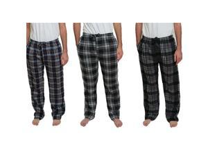3 Pack: Rugged Frontier Men's Plaid Fleece Lounge Pant Assorted Colors