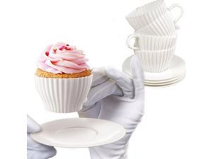 8 PCS: Bake and Serve Tea Cup Molds - with Cups and Saucers