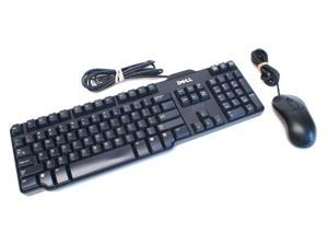 Keyboard Mouse Combo, Dell Sk-8115 USB Wired 104-Key Standard Keyboard and Dell M0C5U0 USB Scroll 3 Button Optical Mouse for PC and Laptop