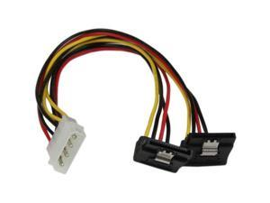 "StarTech PYO2LP4LSATR 12"" 12in LP4 to 2x Right Angle Latching SATA Power Y Cable Splitter - 4 Pin Molex to Dual SATA"