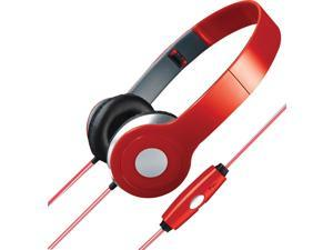 ILIVE IAHL75R Stereo Designer Headphones with Microphone & Glowing Cable (Red)