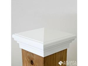 6x6 Post Cap (Nominal) – White Pyramid Top – 10 Year Warranty