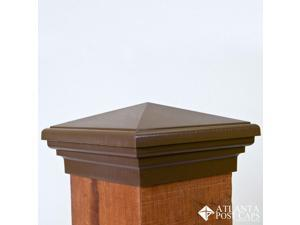 6x6 Post Cap (Nominal) – Mocha Brown Pyramid Top – 10 Year Warranty