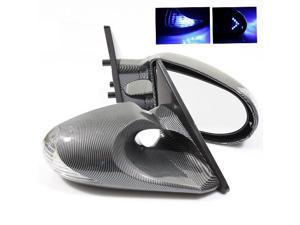 94-01 Acura Integra Coupe Carbon Fiber Painted K6 Side Manual Mirrors with LED Blue Arrow Signal