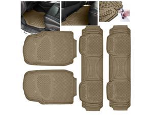 ModifyStreet Universal Fit 4PC Front/Back All Weather Trimmable Heavy Duty Rubber Beige 3D Floot Mats Carpet Van/7-Seater