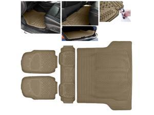 ModifyStreet Universal Fit 4PC Front/Back/Trunk All Weather Trimmable Heavy Duty Rubber Beige 3D Floot Mats Carpet Car/SUV/Truck/Van