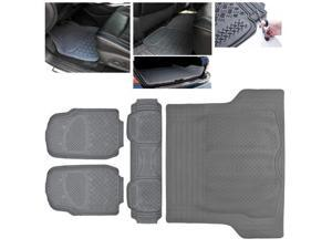 ModifyStreet Universal Fit 4PC Front/Back/Trunk All Weather Trimmable Heavy Duty Rubber Grey 3D Floot Mats Carpet Car/SUV/Truck/Van