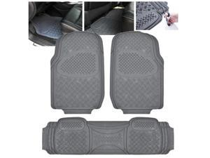 ModifyStreet Universal Fit 3PC Front/Back All Weather Trimmable Heavy Duty Rubber Grey 3D Floot Mats Carpet Car/SUV/Truck/Van