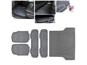 ModifyStreet Universal Fit 5PC Front/Back/Trunk All Weather Trimmable Heavy Duty Rubber Grey 3D Floot Mats Carpet Van/7-Seater