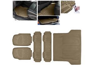 ModifyStreet Universal Fit 5PC Front/Back/Trunk All Weather Trimmable Heavy Duty Rubber Beige 3D Floot Mats Carpet Van/7-Seater