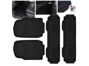 ModifyStreet Universal Fit 4PC Front/Back All Weather Trimmable Heavy Duty Rubber Black 3D Floot Mats Carpet Van/7-Seater