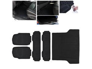ModifyStreet Universal Fit 5PC Front/Back/Trunk All Weather Trimmable Heavy Duty Rubber Black 3D Floot Mats Carpet Van/7-Seater