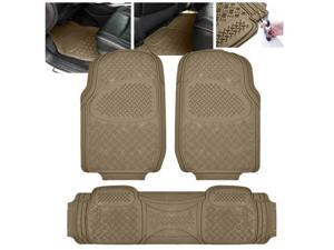 ModifyStreet Universal Fit 3PC Front/Back All Weather Trimmable Heavy Duty Rubber Beige 3D Floot Mats Carpet Car/SUV/Truck/Van