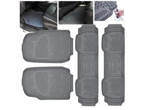 ModifyStreet Universal Fit 4PC Front/Back All Weather Trimmable Heavy Duty Rubber Grey 3D Floot Mats Carpet Van/7-Seater