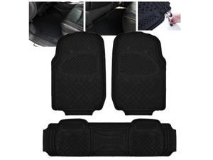 ModifyStreet Universal Fit 3PC Front/Back All Weather Trimmable Heavy Duty Rubber Black 3D Floot Mats Carpet Car/SUV/Truck/Van