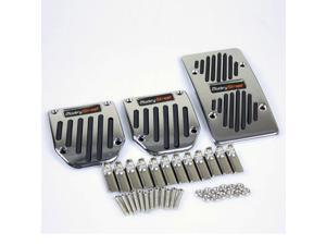 Universal Polish Aluminum Chrome/Black Rubber Plate Manual Gas/Clutch/Brake Racing Style Car Foot Pedals Cover Pads
