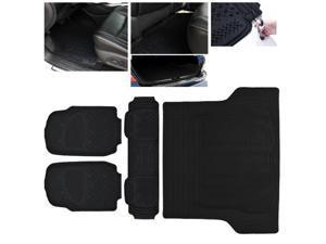 ModifyStreet Universal Fit 4PC Front/Back/Trunk All Weather Trimmable Heavy Duty Rubber Black 3D Floot Mats Carpet Car/SUV/Truck/Van