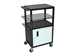 24W x 18D x 16 to 42H Multi Height AV Cart 3 Shelves with Cabinet and Electric