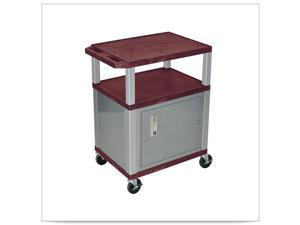 Burgundy 18D x 24W x 34H Tuffy Cart with Nickel Cabinet and Electric